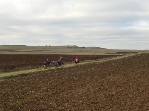 Family travelling by bike along the Camino de Santiago