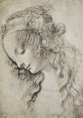 Head of Mary Magdalene by Leonardo da Vinci (1452–1519), charcoal on paper Galleria degli Uffizi, Florence, Italy / Alinari / Bridgeman Art Library