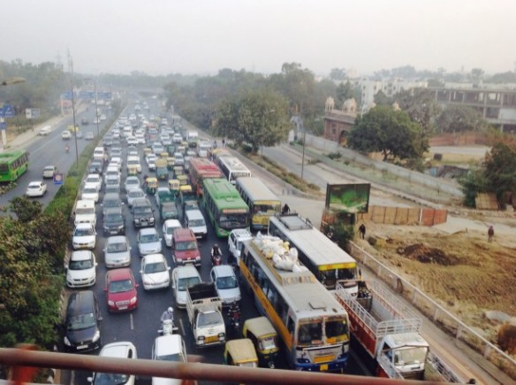 Traffic in New  Delhi, India