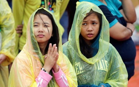 Pope Francis drew a huge crowd when he addressed young people at Manila's Catholic university. Picture: AP