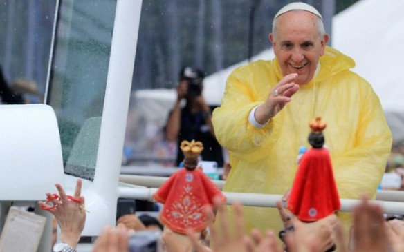 Ecstatic crowds greeted Pope Francis as he arrived in the Philippines, Asia's most populous Catholic nation, for the first papal visit in 20 years. Picture: EPA
