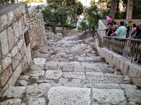 As we entered Jerusalem, these are the steps where Jesus walked.