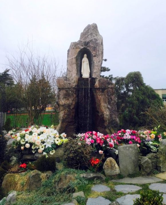 Dense Flowers for Lorena left at the Grotto of Our Lady of Mercy