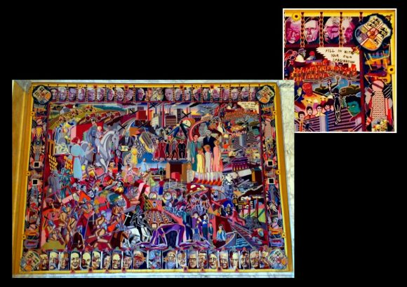 Collage of tapestry in Amalienborg Palace, Copenhagen, Denmark