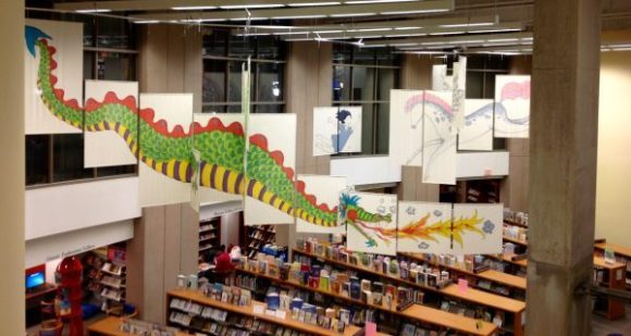 Over looking at the children's section of Vancouver Public Library