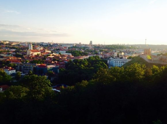 View of Vilnius, Lithuania on top of the hill