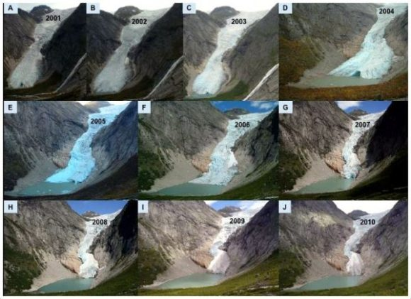 2001 to 2010 photo (Source: Norway Glacier Retreat)