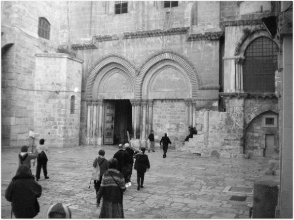 Carrying of the Cross to Mt. Calvary inside Holy Sepulchre